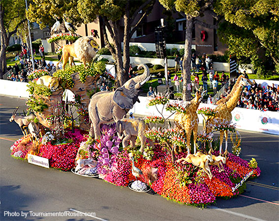 A festival of flower-covered floats, marching bands, equestrians and the Rose Bowl college football game on New Years Day.