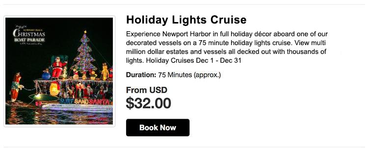 Newport Beach Christmas Lights Cruise.Newport Beach Boat Parade Holiday Light Cruises Newport