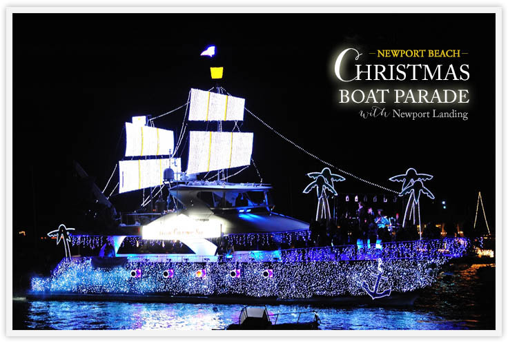 festively decorated boats at the newport beach christmas boat parade from newport landing